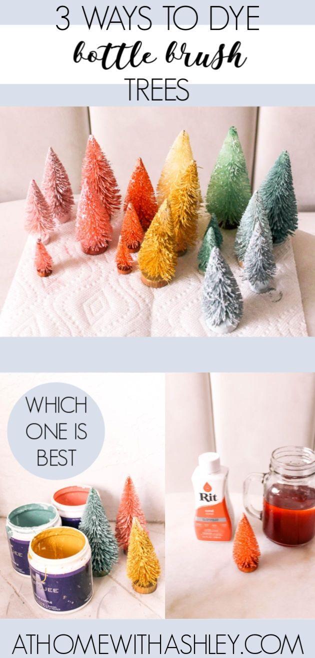 How to dye bottle brush trees three ways #vintagechristmas #christmascrafts #crafts #kidscrafts #christmasdecor #bottlebrushtrees