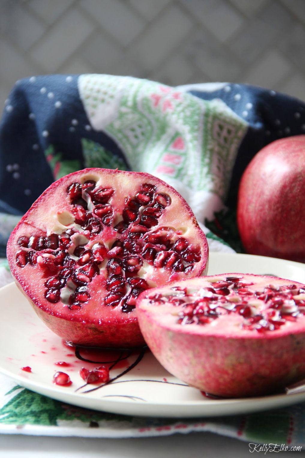 Pomegranate seeds are delish! kellyelko.com #pomegranate