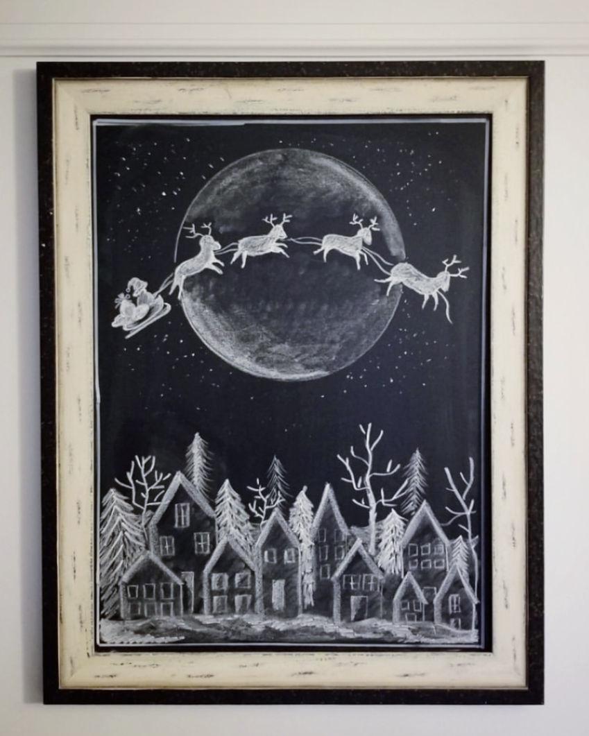 Winter village chalkboard art kellyelko.com #chalkboard #chalkart #christmaschalkboard #santa #freeprintables #christmasprintables #christmasart #wintervillage #farmhousechristmas #kellyelko