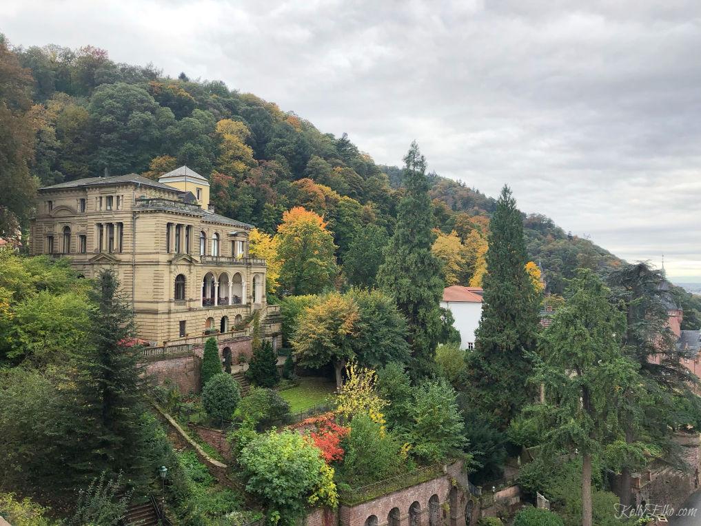 Heidelberg Germany view from the castle to the Heidelberg University fraternity house kellyelko.com #heidelberg #heidelbergcastle #germany #luxurytravel #travelblogger #travelblog #nekarriver #europeantravel #europe #castles