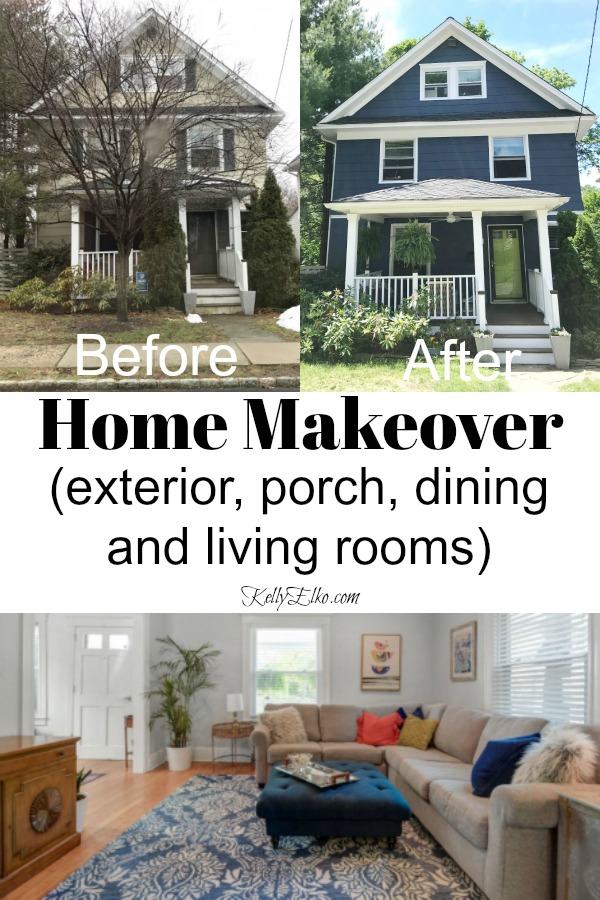 Home Makeover Before & After - see how she transformed the exterior, porch, dining room and living room in this old home kellyelko.com #curbappeal #homemakeover #housemakeover #houserenovation #reno #renovation #fixerupper #fixerupperstyle #interiordecorate #kellyelko