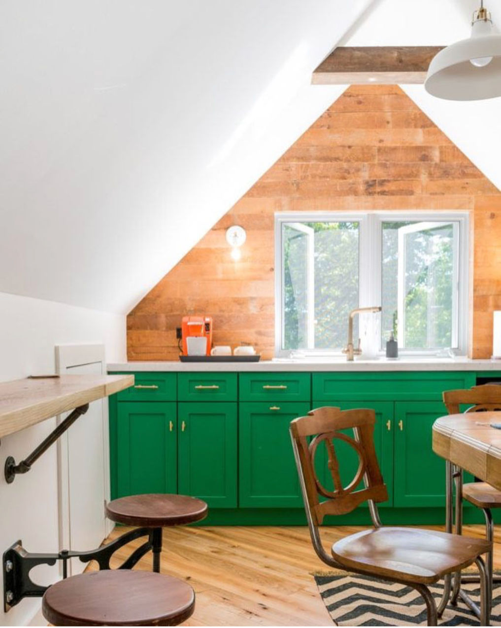 Kitchenette with green cabinets and wood shiplap #shiplap #woodwalls #atticdecor #attickitchen #greenkitchen #greenpaint #eclecticdecor