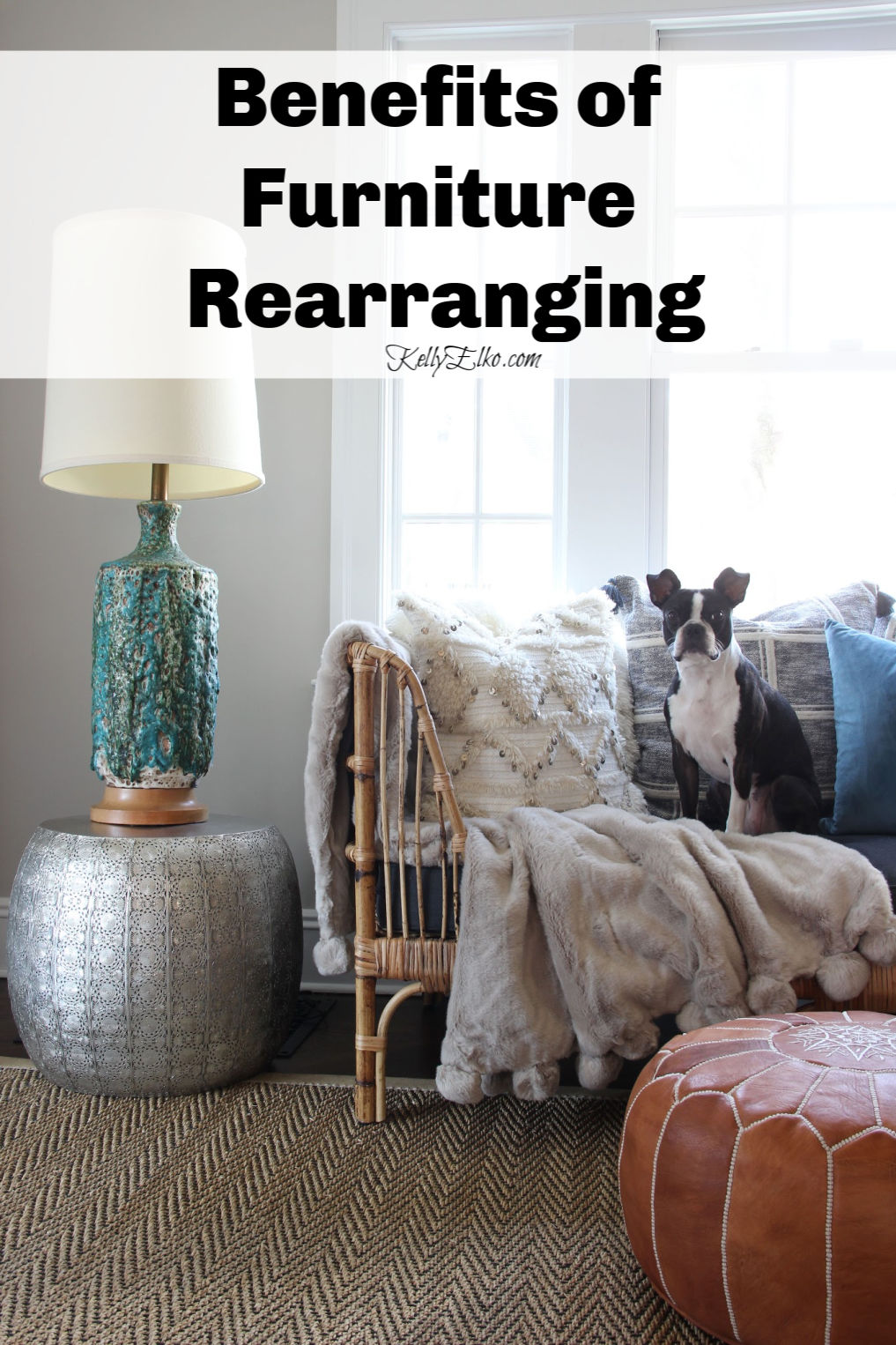 Benefits of Furniture Rearranging plus how to tips kellyelko.com #furniture #furnitureplacement #furniturerearranging #interiordesign #interiordecor #tipsandtricks #vintagedecor #eclecticdecor #bohodecor #kellyelko