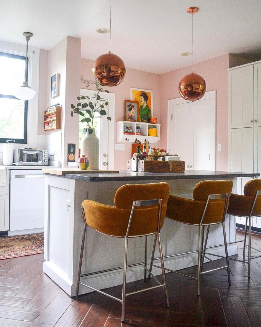 Blue pink kitchen with white cabinets and brass lighting #kitchen #bohokitchen #blushpink #pinkkitchen #whitekitchen #eclectickitchen #kitchendecor