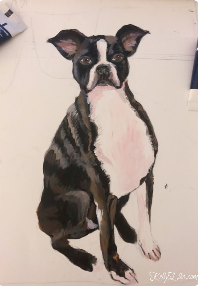 Custom pet portrait - love this cute little Boston Terrier kellyelko.com #bostonterrier #originalart #petportrait #customart