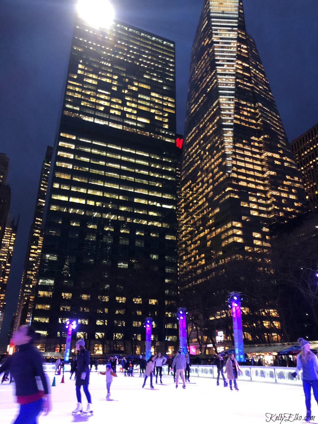 Bryant Park ice rink kellyelko.com #newyork #ny #bryantpark #iceskating #icerink #travelblog #travelblogger