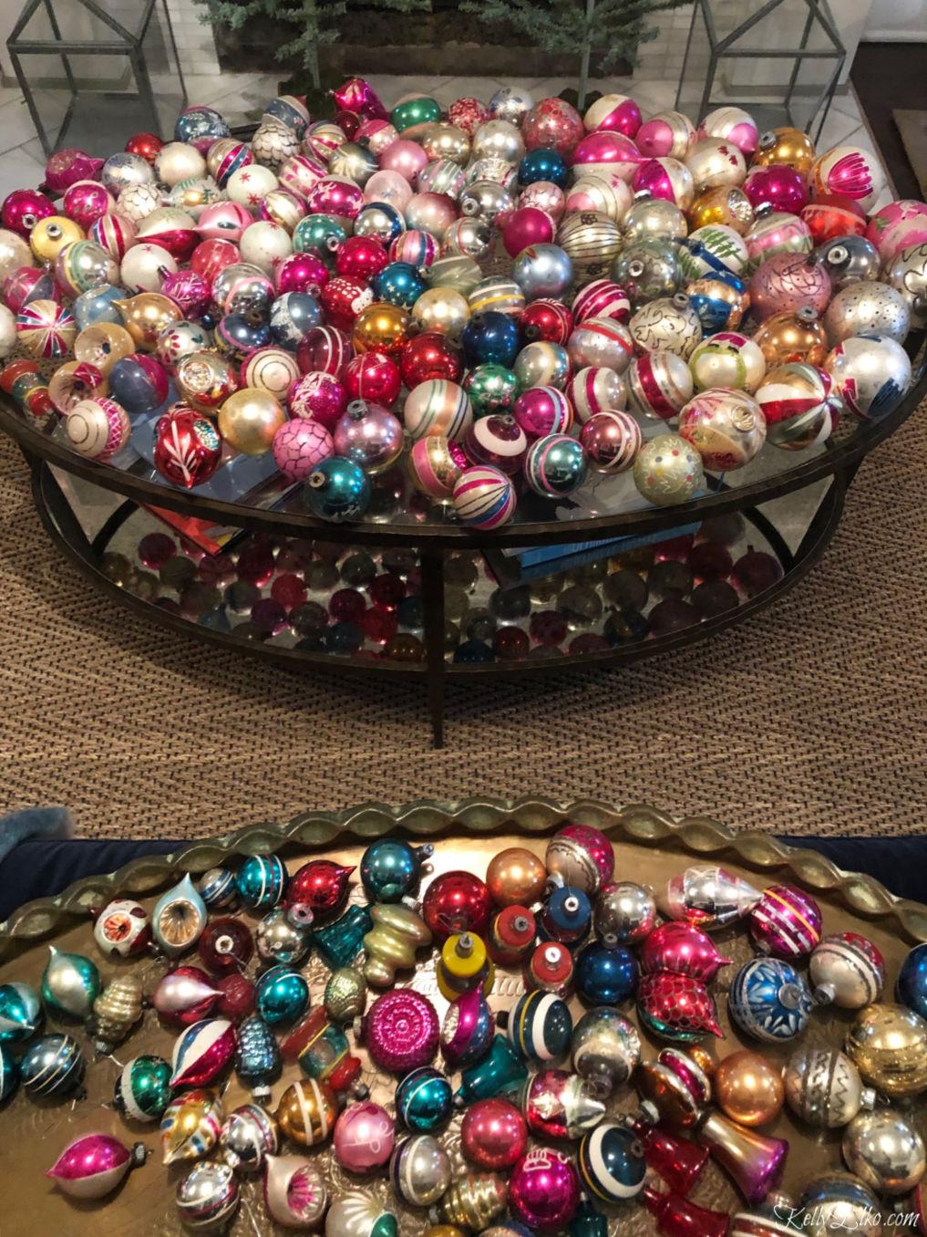 Huge collection of vintage Shiny Brite Christmas ornaments kellyelko.com #shinybrites #vintagechristmas #vintageornaments #shinybrite #christmasdecor #kellyelko
