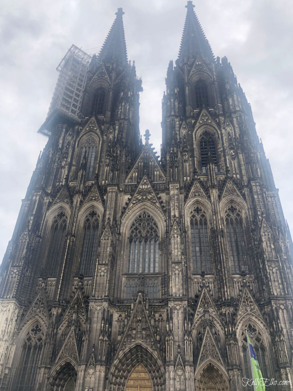 the massive Cologne Cathedral in Cologne Germany is a UNESCO World Heritage site kellyelko.com #colognegermany #colognecathedral #travel #rhineriver #travelblogger #europevacation