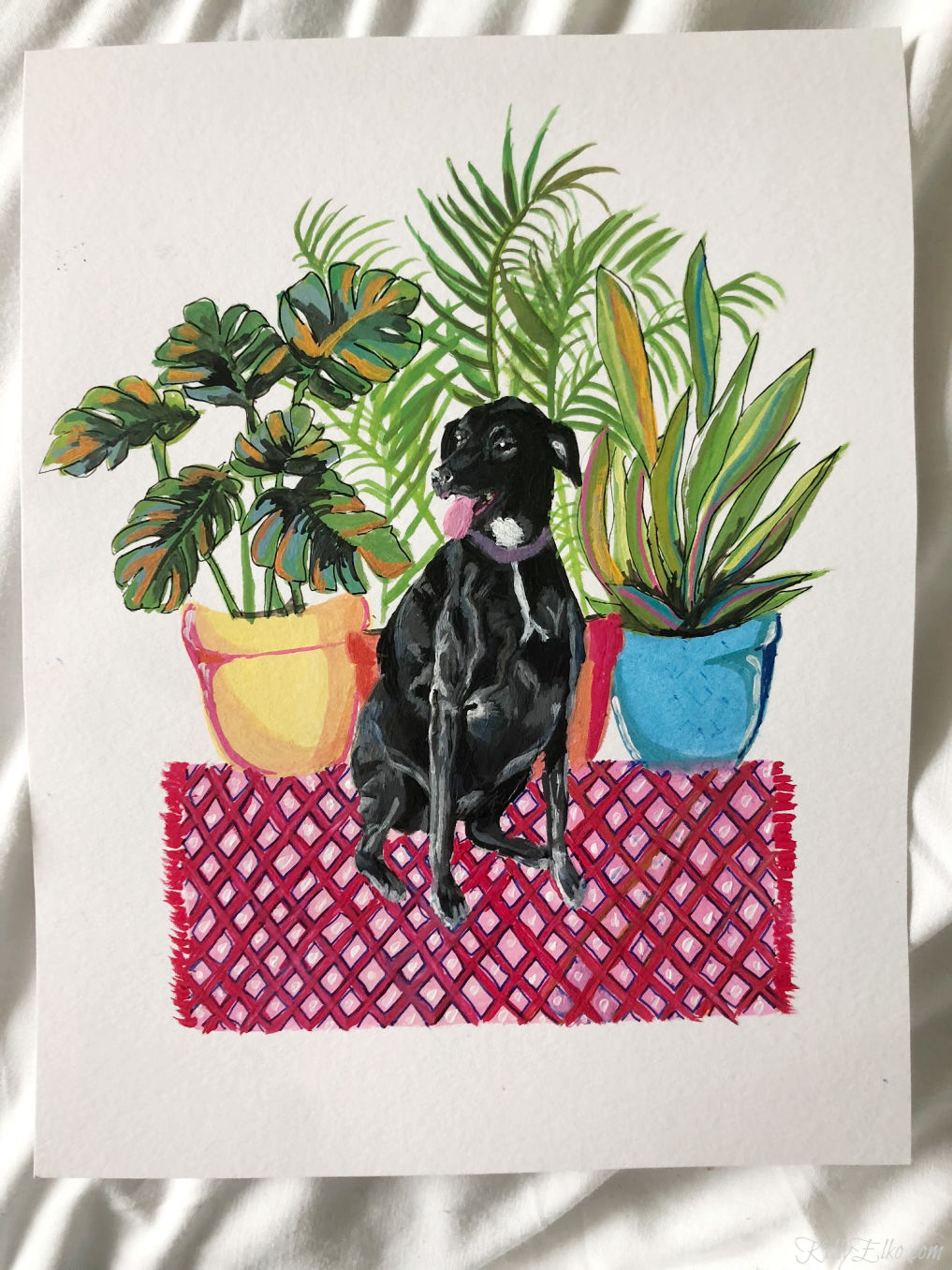 Custom Pet Portrait - love the fun color and patterns kellyelko.com #gouache #customart #originalart #artist #petportrait