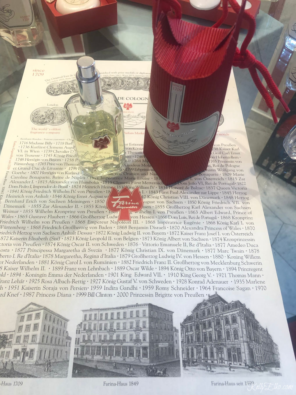 Farina Fragrance Museum makes the original Eau de Cologne Farina 1709 kellyelko.com #eaudecologne #farina1709 #colognegermany #perfume #farina #rhineriver #germany #travelblogger #rhinerivercruise