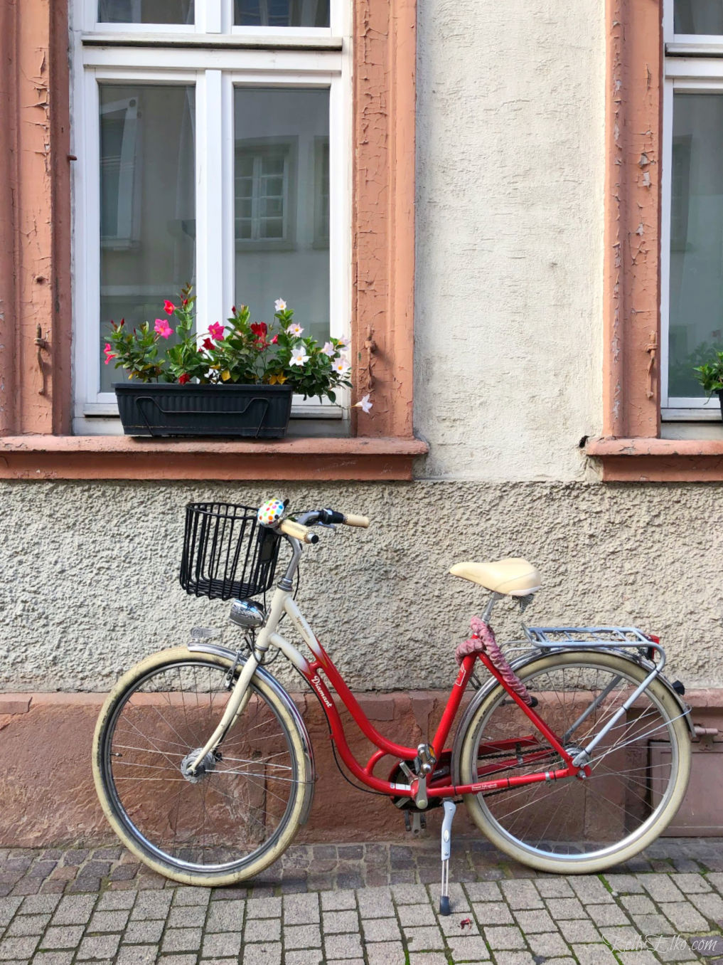 A red bike and a window box of flowers in Europe #travel #bike #travelphotography #germany