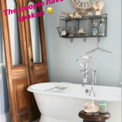 Kelly's Stamp of Approval 14 - love this bathroom with antique doors kellyelko.com
