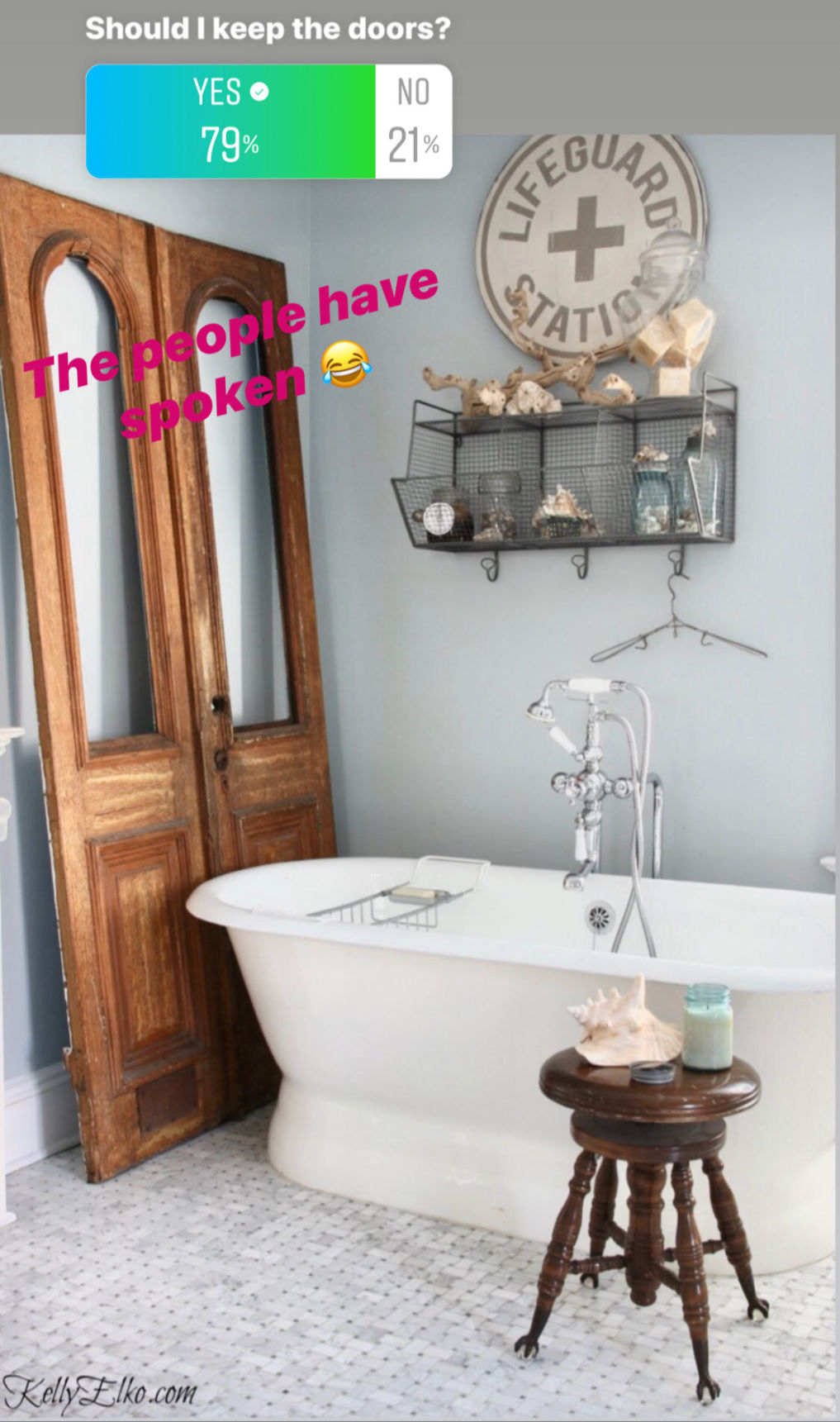 I asked and you answered! Should I keep these antique doors in my bathroom? kellyelko.com #bathroom #masterbathroom #vintagebathroom #antiquedoors #vintagedecor #marbletile #marblebathroom #freestandingtub #coastalbathroom
