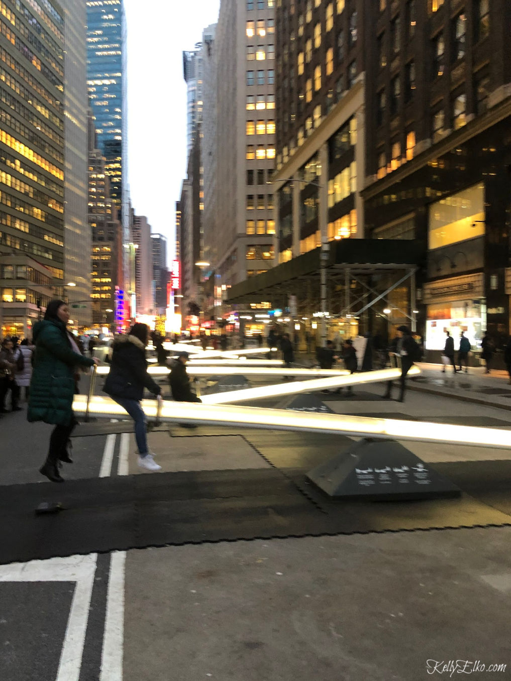 Giant glow in the dark teeter totters in New York City kellyelko.com #nyc #newyork #artinstallation #travel #travelblogger #kellyelko Kelly's Stamp of Approval 12