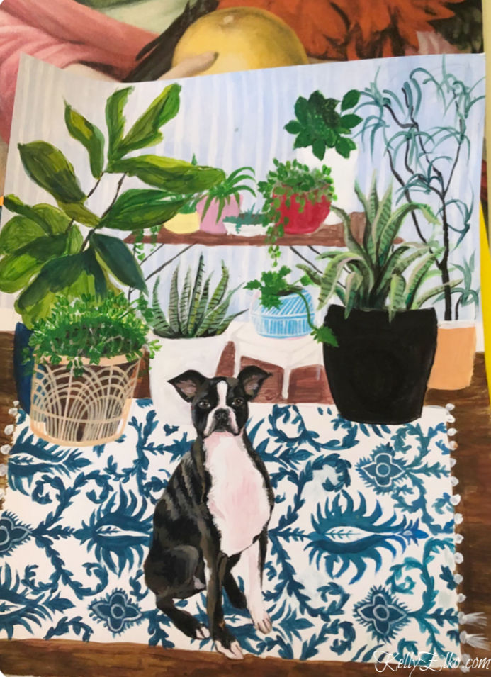 Custom pet portrait - love this cute little Boston Terrier kellyelko.com #bostonterrier #originalart #petportrait #customart #plantlady #colorlovers #pattern #artist