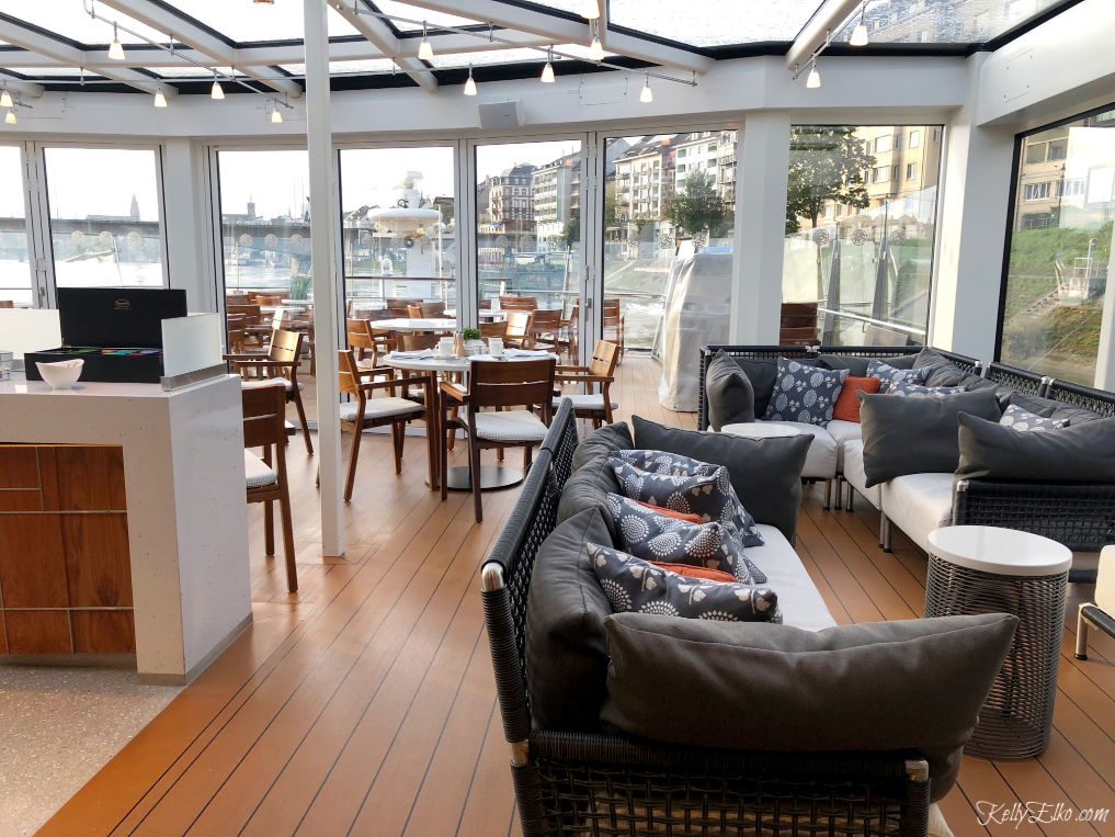 The Aquavit lounge is the perfect place to relax on your Viking cruise ship kellyelko.com #aquavit #vikingcruise #viking #rivercruise #longboat #europeantravel #rhineriver #luxurytravel #cruise #cruises #travelblog #travelblogger