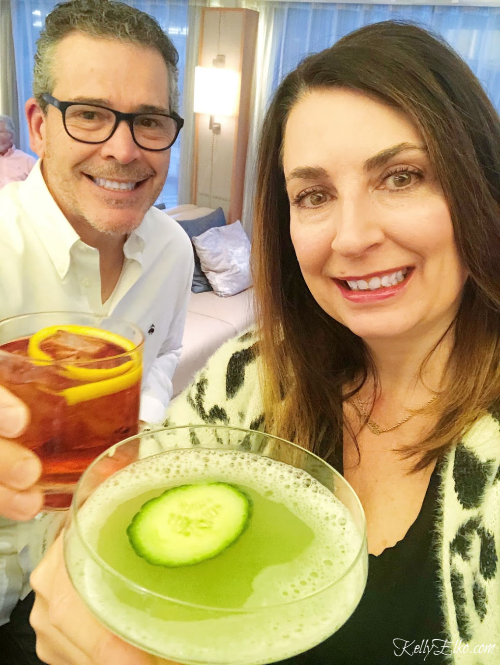 Kelly and Steve enjoying a Negroni and a Cucumber Martini kellyelko.com #cocktails #negroni #cucumbermartini #cocktailhour #happyhour