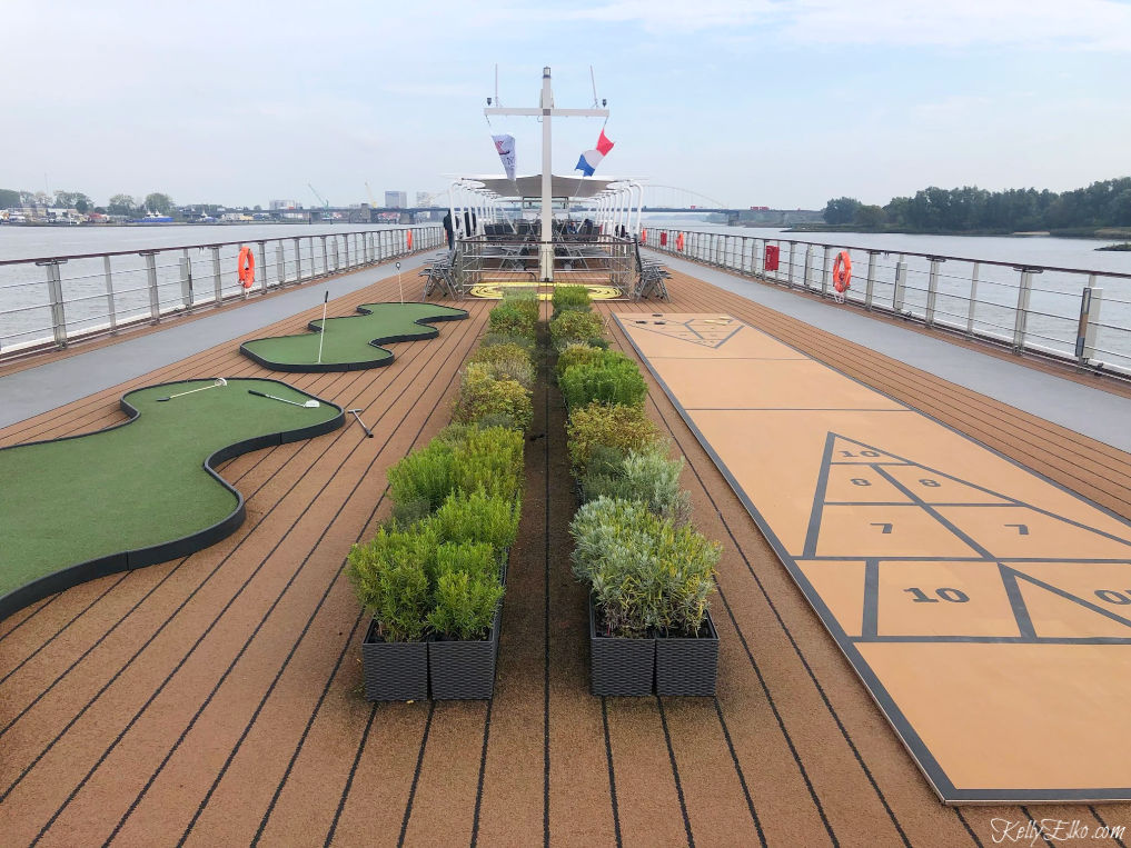 Love the top deck of this Viking River ship with herb garden, walking track and golf kellyelko.com #vikingrivercruise #vikingcruise #viking #rivercruise #rhineriver #travel #travelblogger