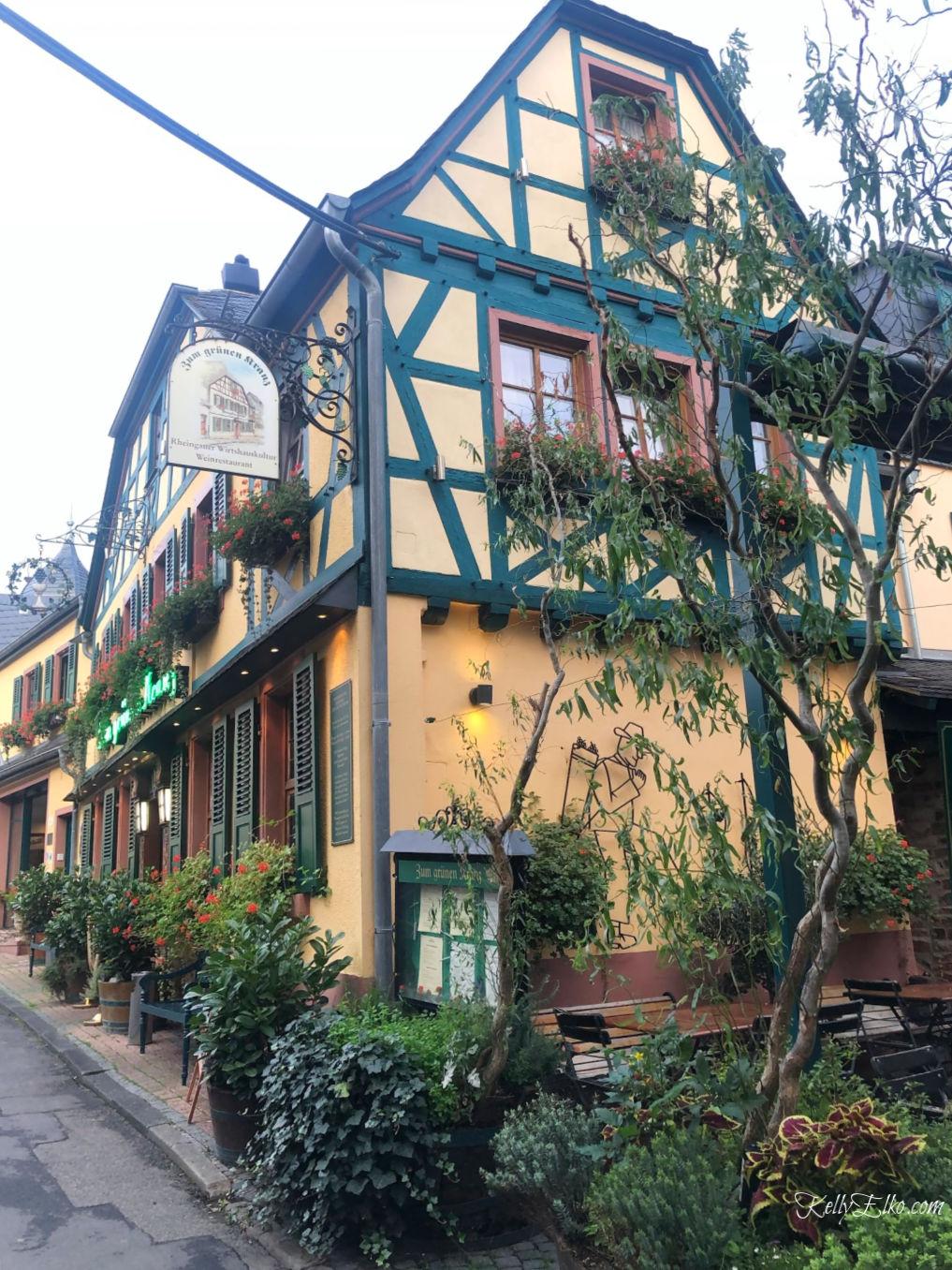 Rudesheim Germany is a charming little town with beautiful architecture kellyelko.com #Rudesheim #germany #rhine #rivercruise #myvikingstory #travel #travelblog #travelblogger #kellyelko