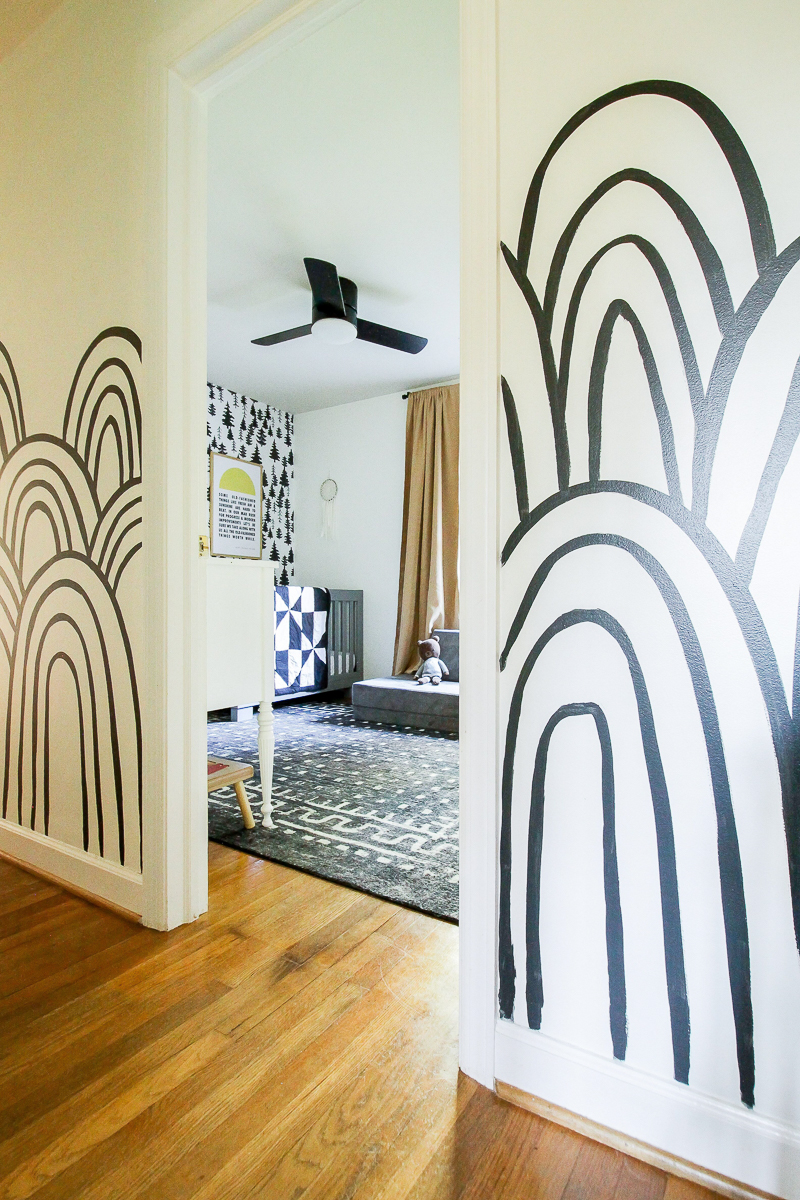 Black and white rainbow wall mural