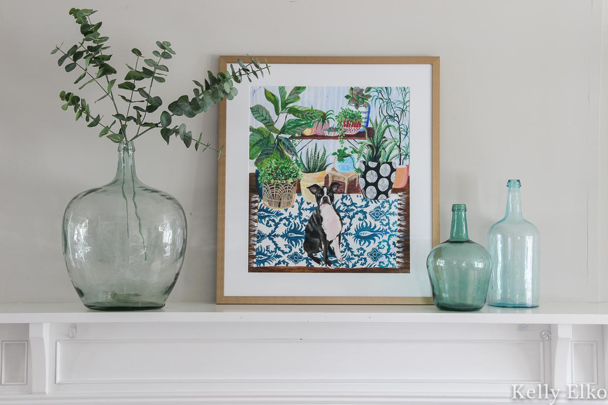 Love this whimsical pet portrait with colorful pattern and color and lots of plants kellyelko.com #petportrait #originalpainting #originalart #manteldecor #bohodecor #vintagedecor