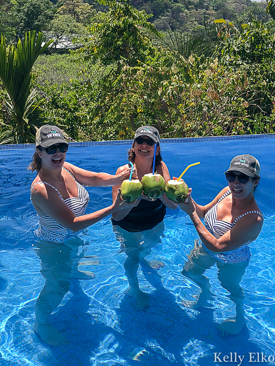 Rent a luxury villa with infinity edge pool and drink out of coconuts! kellyelko.com #costarica #girlstrip #vacation #travel #travelblog #travelblogger