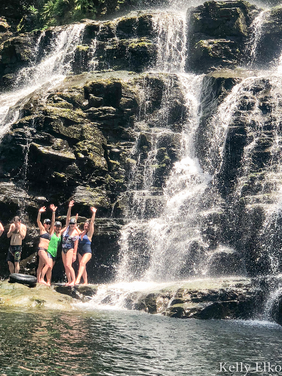 Swim under waterfalls in Costa Rica kellyelko.com #costarica #travel #adventure #adventuretravel #vacation #girlstrip #waterfall