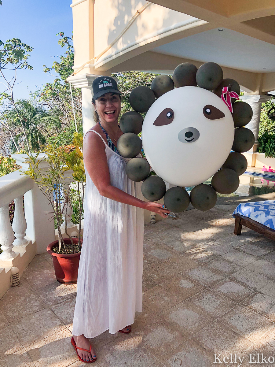 This villa in Costa Rica planned a sloth themed birthday party and it was epic! kellyelko.com #costarica #sloths #birthdayparty #vacation #travel #travelblog #travelblogger #girlstrip #birthdaytrip