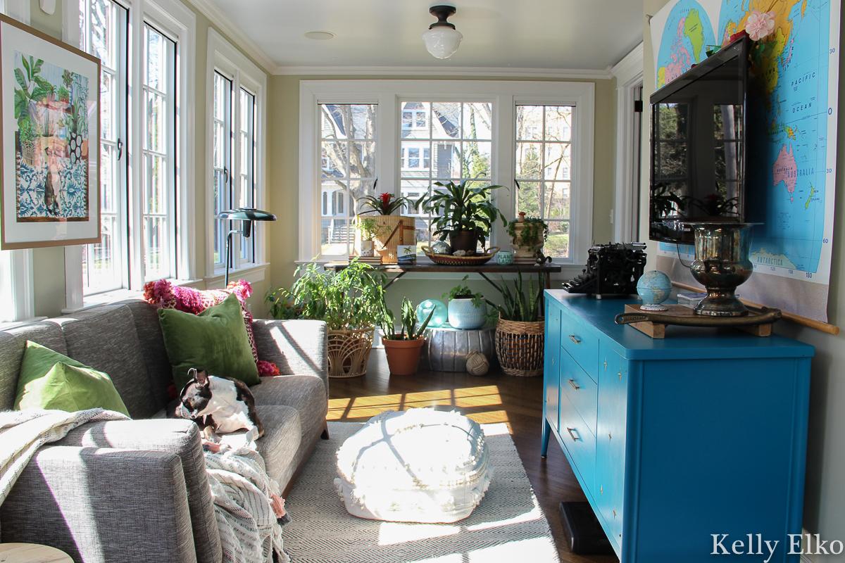 Love this colorful plant filled sunroom with vintage school map art kellyelko.com #sunroom #sunroomdecor #sunroomfurniture #vintagemodern #colorfuldecor #plantlady #houseplants #midcenturyfurniture #midcenturemodern