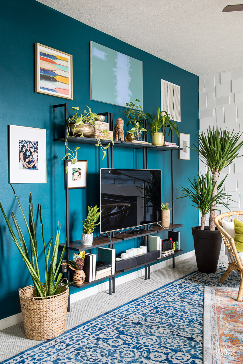 Paint an accent wall a vibrant shade of paint #gallerywall #colorfuldecor #tvwall #plants #houseplants #bohodecor #eclecticdecor