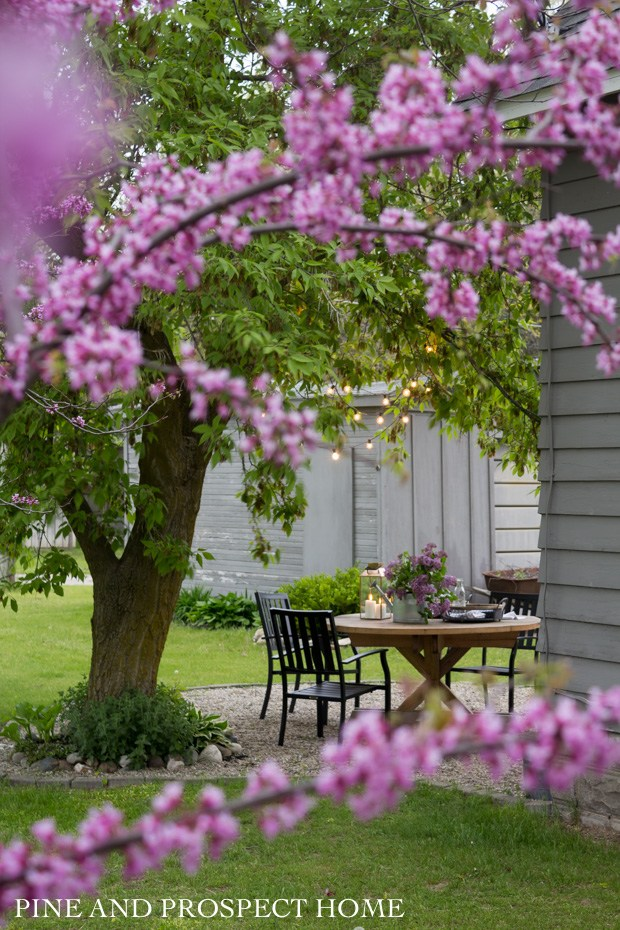 Beautiful outdoor table setting with lilacs #tablesetting #patiotable #patiofurniture #farmhousedecor #lilacs #springdecor