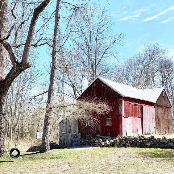 Tour this stunning old farmhouse with red barn #barn #redbarn #farm #farmhouse