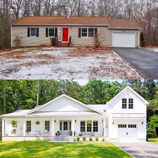 Check out this amazing before and after complete renovation of a ranch house turned farmhouse #ranch #ranchhouse #rancher #homerenovation #farmhouse #farmhousedecor #curbappeal #homerenovation #farmhousestyle