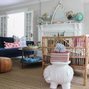 Living Room Furniture Arranging Tips kellyelko.com #livingroom #furniturearranging #eclecticdecor #vintagedecor #bohodecor #rattan #manteldecor #collections #collect #vintagemodern #globes #decorate