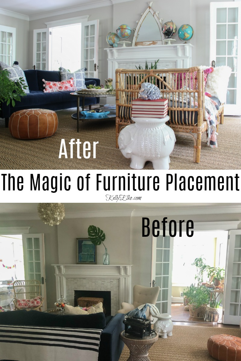 Living Room Furniture Arranging Tips - this before and after shows that the right furniture arrangement makes all the difference kellyelko.com #furniturearranging #furniturearrangement #beforeandafter #livingroomdecor #eclecticdecor #vintagedecor #modernvintage #bohodecor #rattan #manteldecor #collections #beforeandafter #kellyelko.com