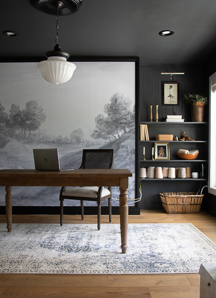 Dramatic home office with moody charcoal walls, ceiling and trim #charcoalpaint #blackpaint #moodydecor #homeoffice #officedecor #wallmural #mural