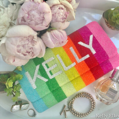 Classic Prep Monograms - love the personalized, hand beaded clutches, totes and purse straps and this rainbow clutch is fabulous kellyelko.com #rainbow #giftguide #giftsforher #giftideas #clutch #accessories #colorful #colorlovers #accessories #classicprepmonograms
