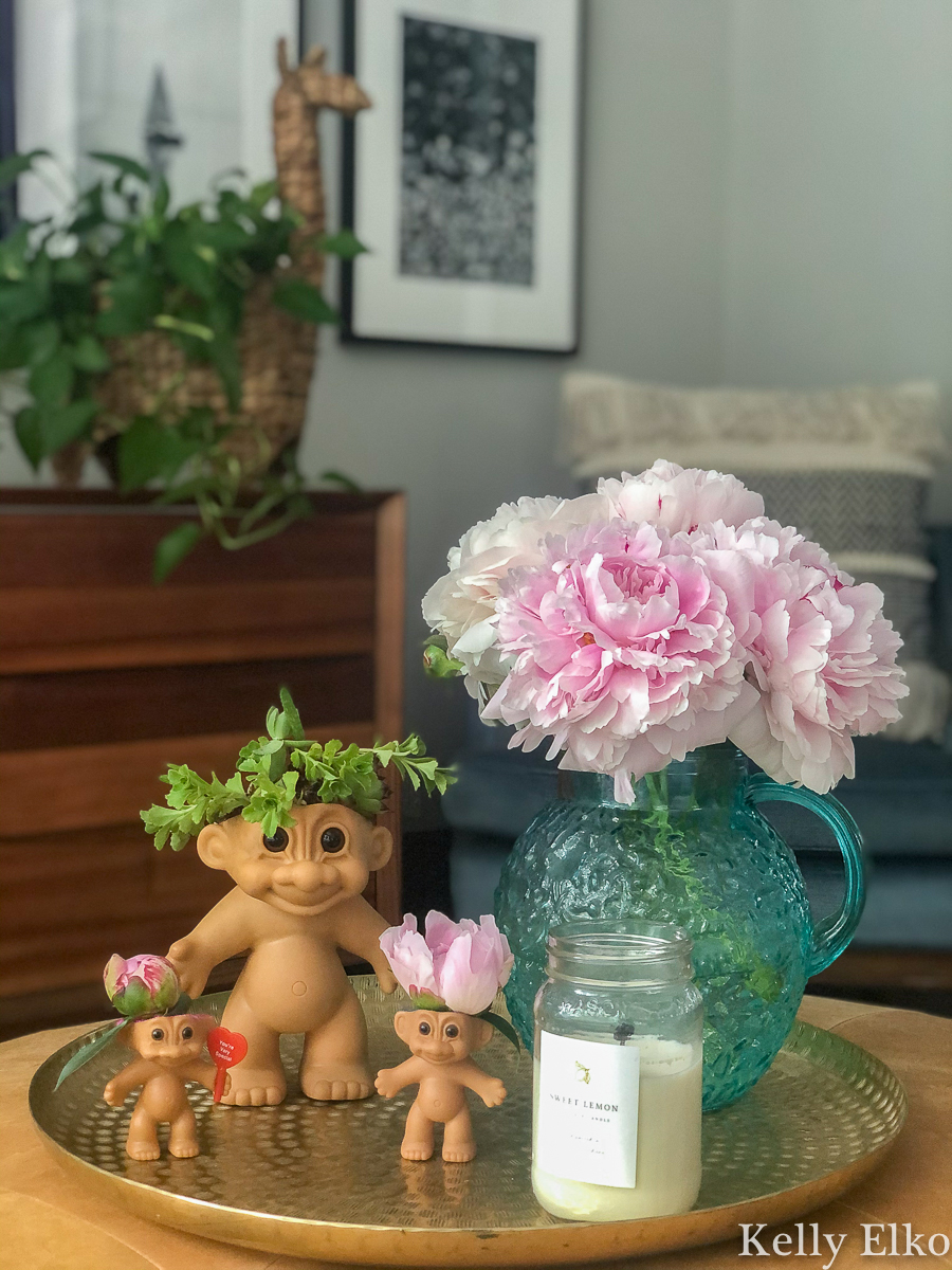 How adorable are these little Troll doll succulent planters and vases! kellyelko.com #succulents #diyplanters #trolls #trolldolls #repurpose #upcycle #planters #peonies #gardening #gardeners