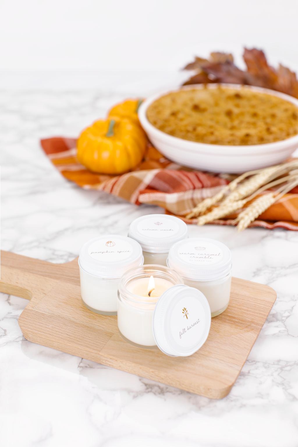 Fall Sample Pack of the best smelling candles on earth! kellyelko.com #fall #fallcandles #falldecor #fallfarmhouse #farmhousedecor