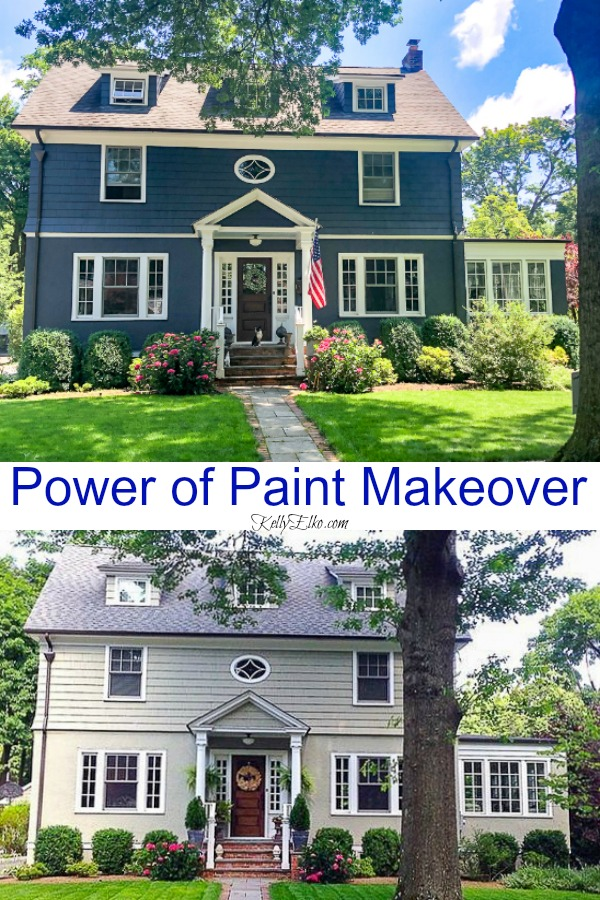 The power of paint makeover - it's amazing what a new color can do to add curb appeal to a home #curbappeal #bluehouse #bluepaint #farmhouse #farmhousedecor #porch #frontporch #paintcolors #halenavy #fixerupper #beforeandafter