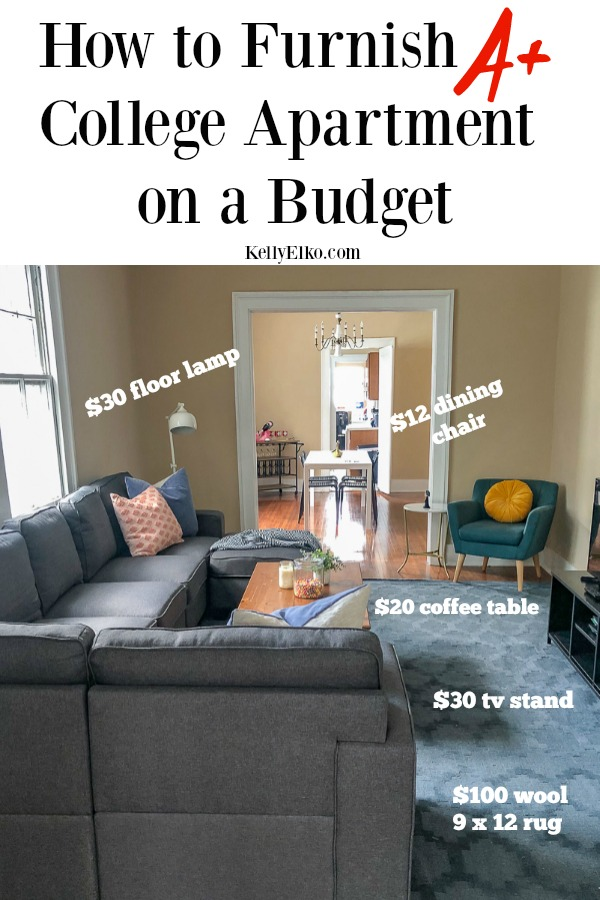 How to Furnish College Apartment Cheap! She shares her budget friendly decorating tips and sources for getting stuff to fill an apartment on a budget kellyelko.com #college #collegeapartment #apartment #apartmentfurniture #budgetfriendlydecor #budgetfriendlyfurniture #collegeapartmenttour #apartmentdecorideas #apartmentideas #sectionalsofa #budgetfriendlyfurniture