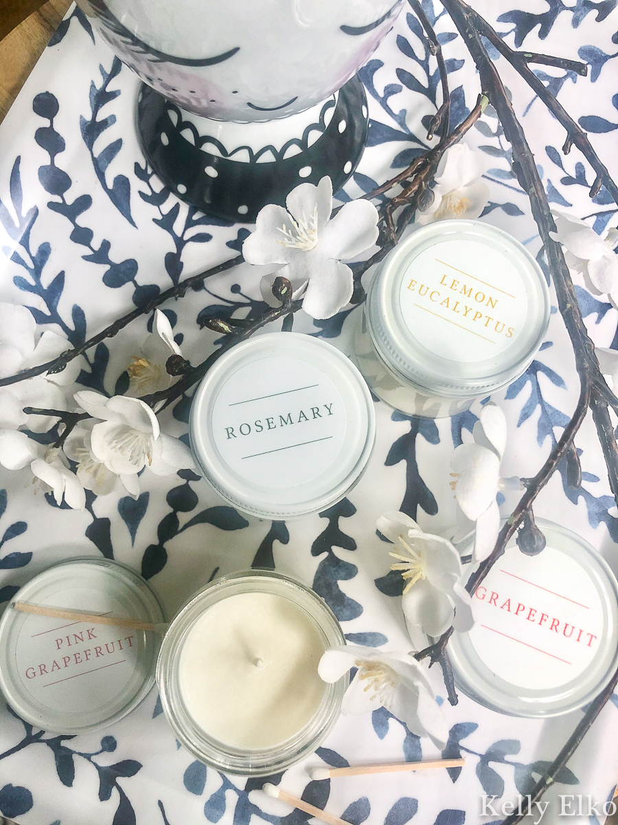 Spring Candle Testers - these are the best smelling candles I have ever owned! kellyelko.com #candles #candle #antiquecandle #farmhousedecor #giftideas #giftsforher #giftguide