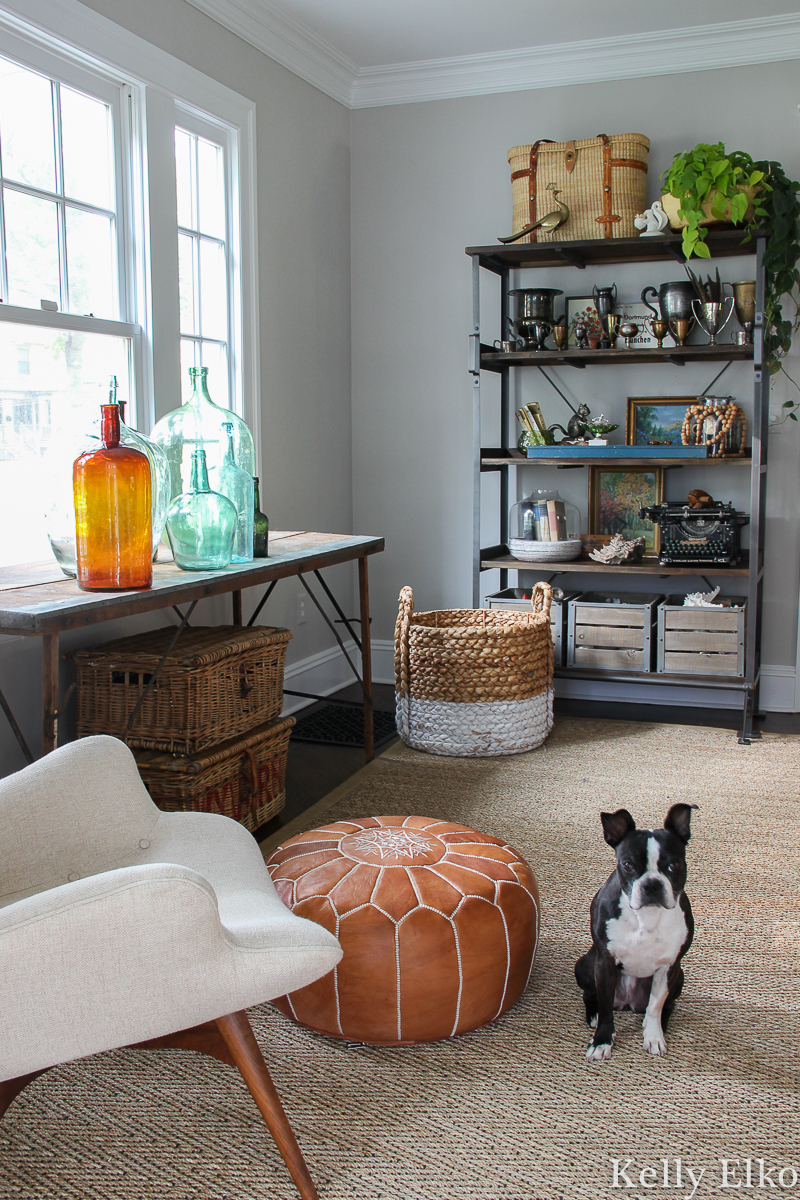 Love these open shelves for displaying vintage collections kellyelko.com #fall #falldecor #fallhometour #shelfie #openshelves #vintagedecor #eclecticdecor #collections #displayideas #bostonterrier #demijohns
