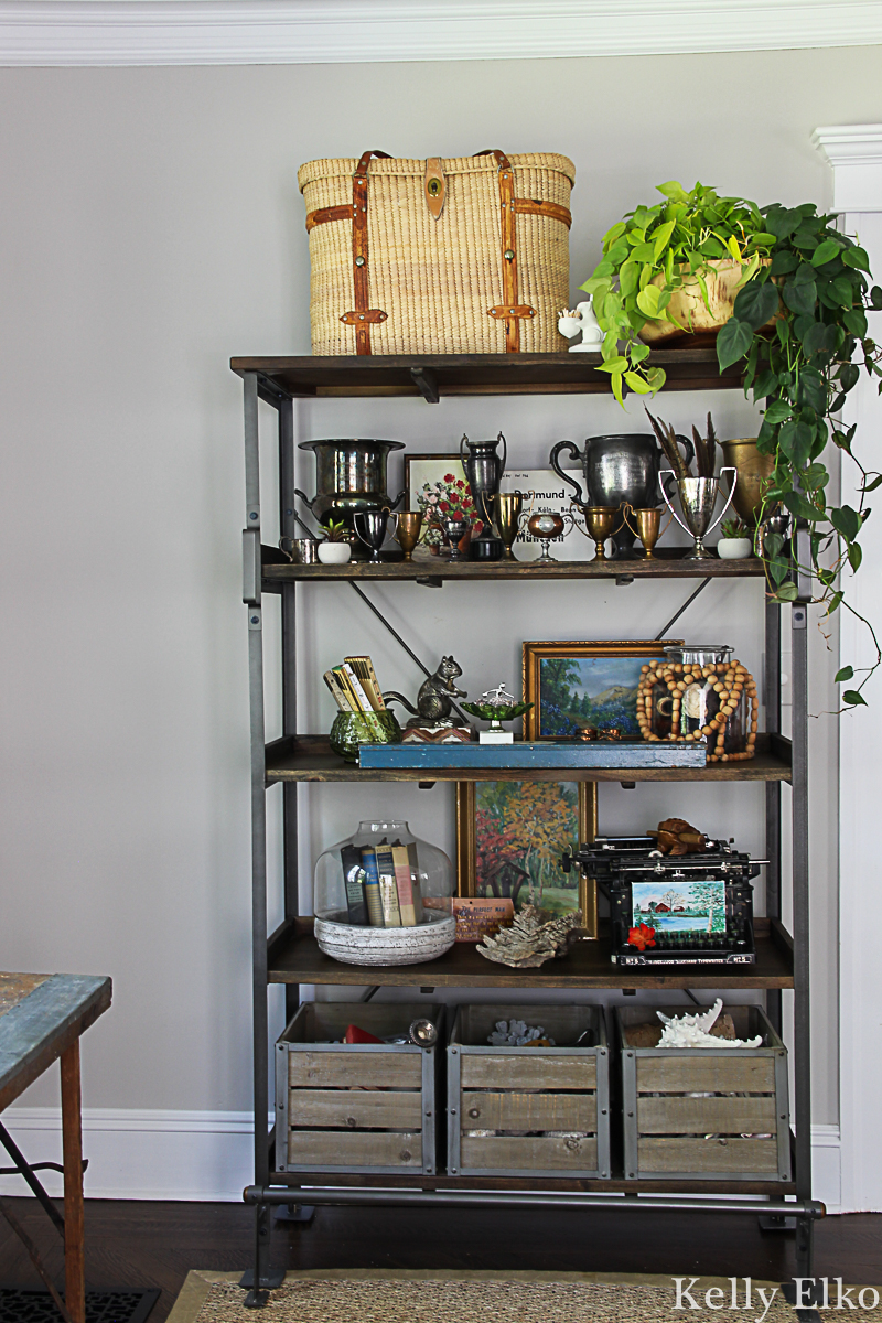 Love open shelves for displaying fun vintage collections kellyelko.com #shelves #shelfie #falldecor #eclecticdecor #vintagedecor #collections #vintagecollections #pothos #houseplants