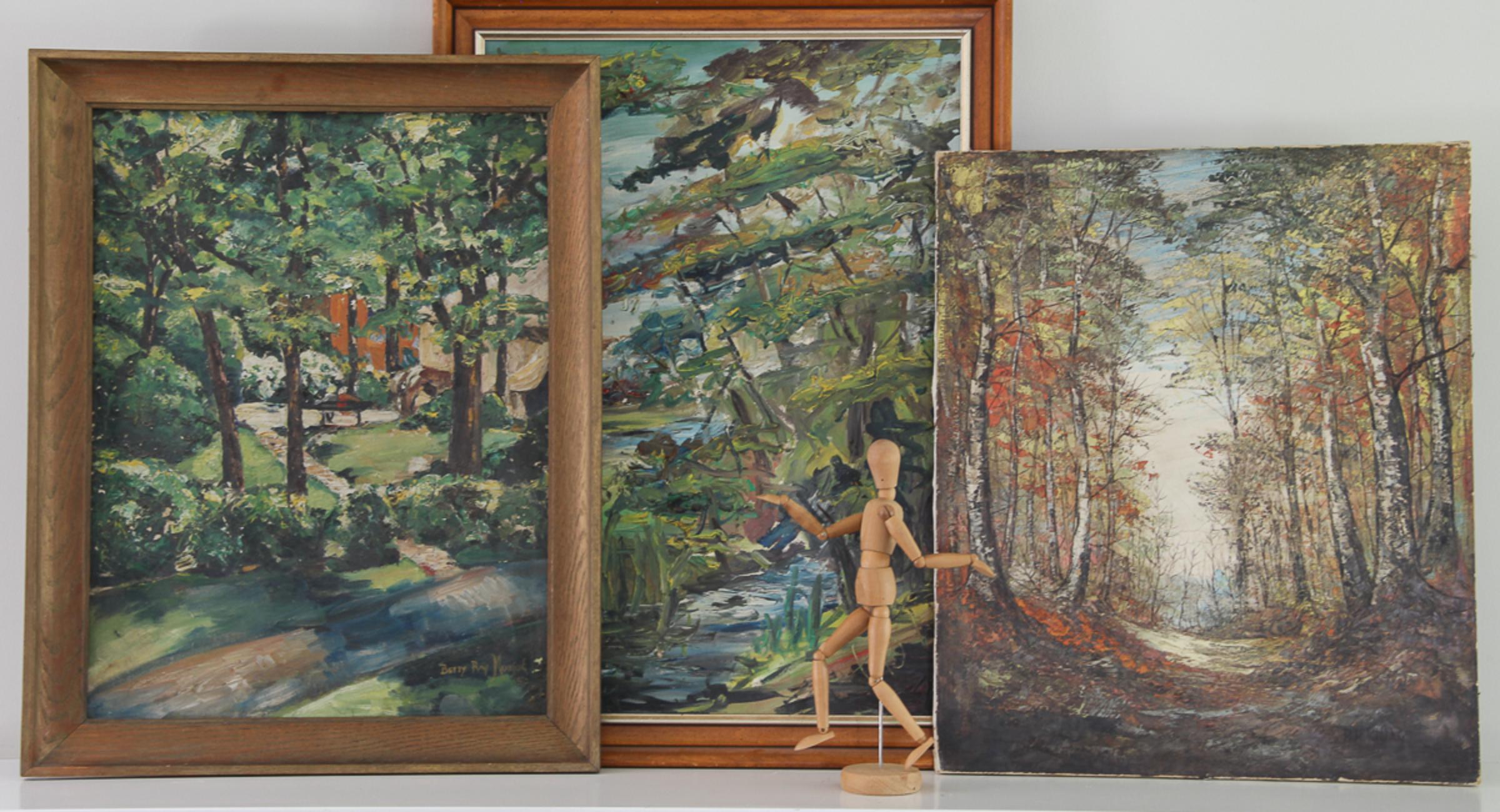 vintage-landscape-paintings-mantel