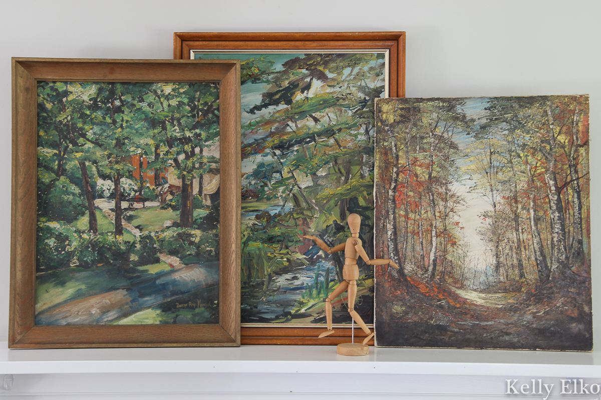 Love this trio of vintage landscape paintings on this fall mantel kellyelko.com #vintageart #vintagedecor #vintagelandscapes #vintagepaintings #landscapes #art #manteldecor #falldecor