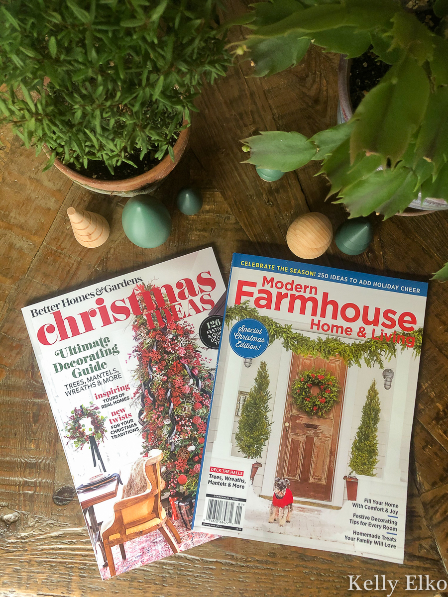 Two Christmas Magazine Features of this talented blogger kellyelko.com #christmas #christmasdecor #christmasddecorating #christmasmagazines #betterhomesandgardens #modernfarmhousemagazine #christmasdecor
