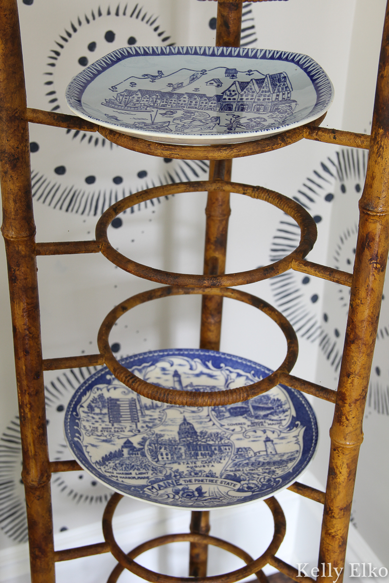 I've never seen anything like this antique bamboo plate rack kellyelko.com #platerack #antique #antiquefurniture #bamboo #vintagebamboo #plates #vintagedecor