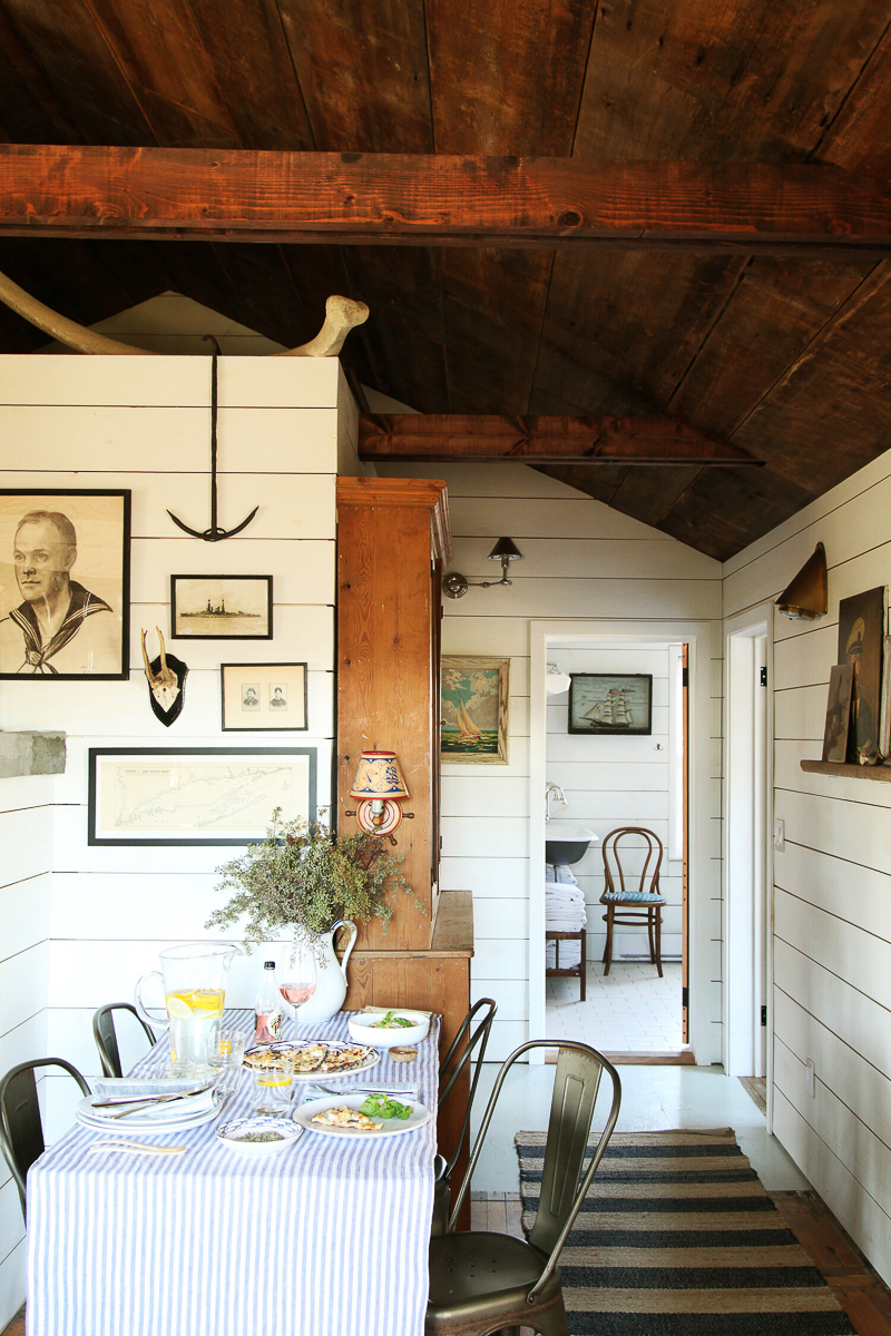 Tour this charming cottage with original wood beams and white shiplap walls kellyelko.com