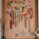 Love this amazing Erica Wilson crewel art kellyelko.com #crewel #crewelart #vintage #vintageart #vintagedecor #originalart #ericawilson